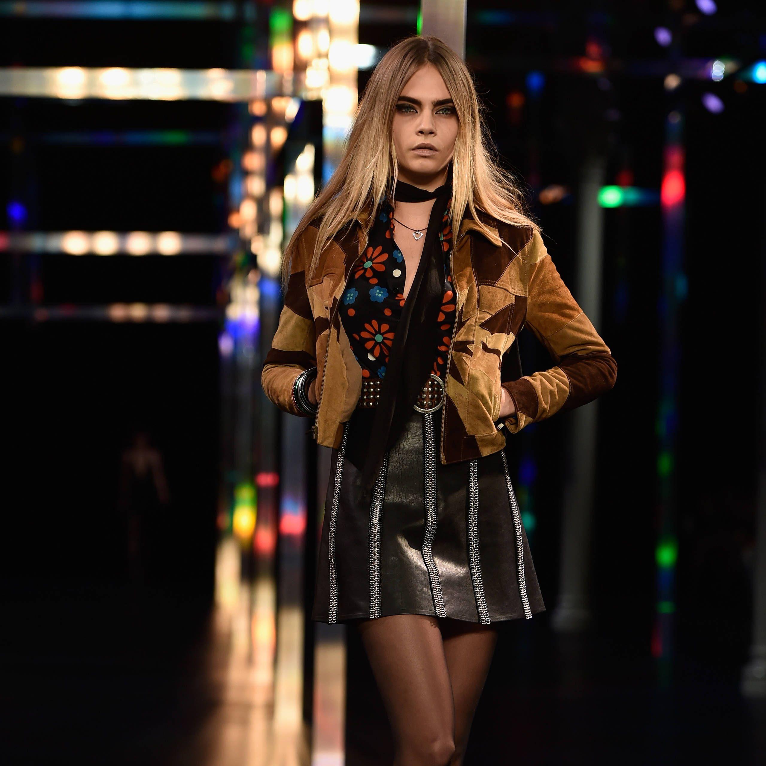 Cara Delevingne Saint Laurent spring 2015 catwalk model Paris fashion week