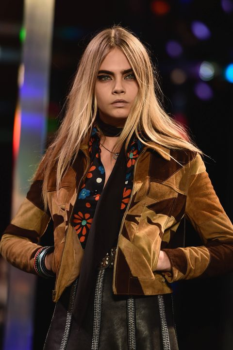 Cara Delevingne at Saint Laurent Spring/Summer 2015 beauty trends - Paris Fashion Week