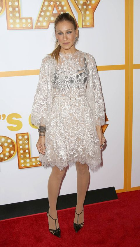 Sarah Jessica Parker At Broadway Opening In Lace Dress