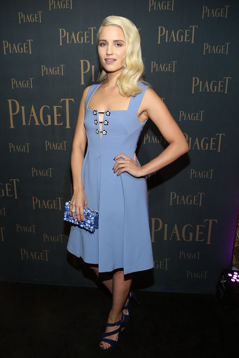 Dianna Agron In Blue Dress Channeling Elsa From Frozen