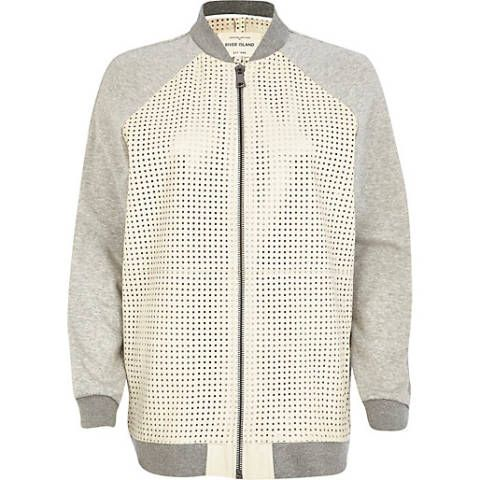 """<a href=""""http://www.riverisland.com/women/sale/coats--jackets/White-perforated-leather-bomber-jacket-644945"""" target=""""_blank"""">Perforated Leather Bomber Jacket, £75 reduced from £180, River Island</a>"""