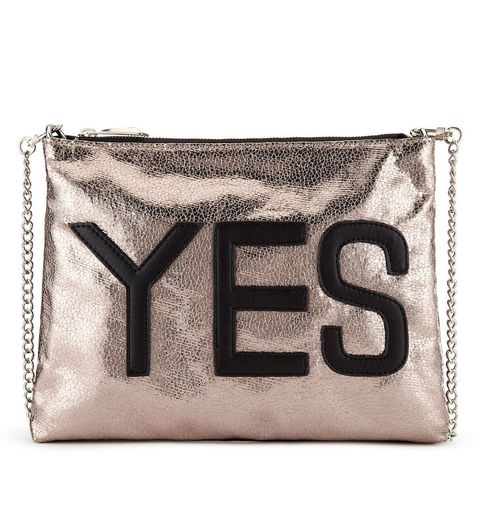 "<a href=""http://www.marksandspencer.com/-yes-and-no-slogan-clutch-bag/p/p22337177#"" target=""_blank"">Yes and No Slogan Clutch Bag, £25, Marks & Spencer</a>"