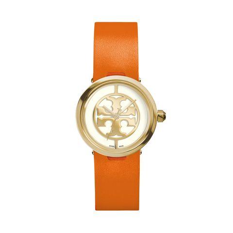 Product, Watch, Analog watch, Orange, Watch accessory, Amber, Fashion accessory, Font, Wrist, Tan,