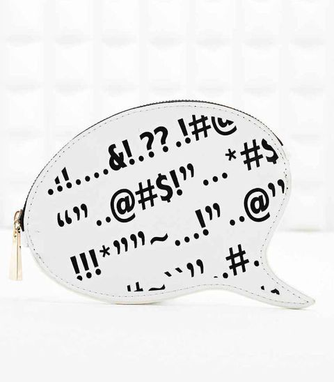 "<a href=""http://www.urbanoutfitters.com/uk/catalog/productdetail.jsp?id=5770469300028&parentid=WOMENS-CLUTCH-BAGS-EU#/"" target=""_blank"">Deena And Ozzy Speech Bubble Pouch, £7, Urban Outfitters</a>"