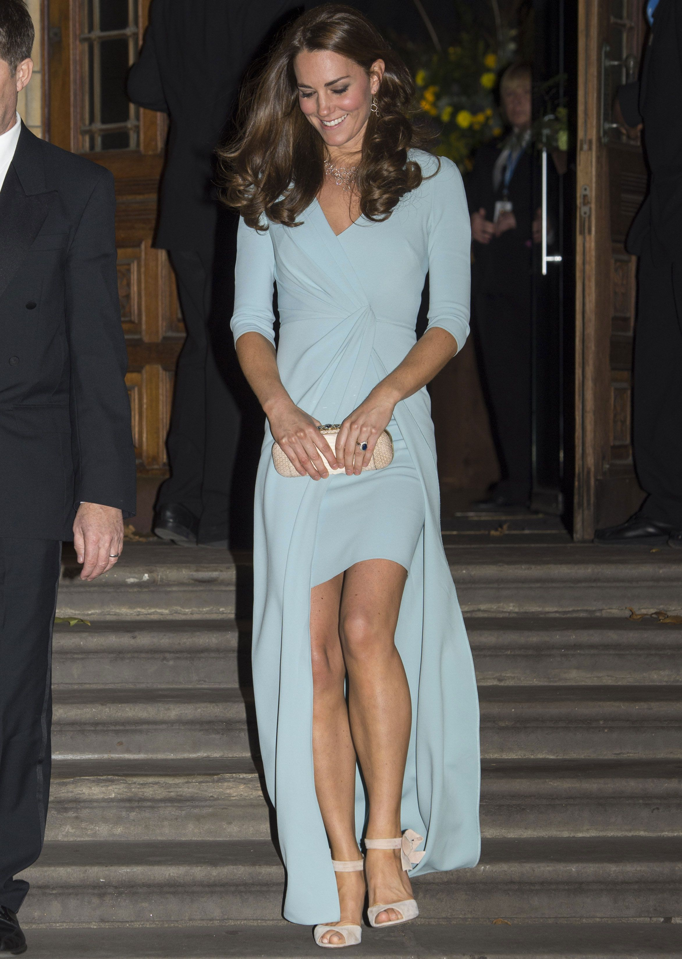 Kate Middleton looks wonderful in a very nice dress, just for a change