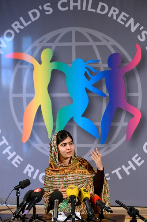 Malala Yousafzai is announced as winner of the World Children's Prize, and donates her prize money to children in Gaza