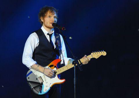 Ed Sheeran performing at MTV EMAs 2014