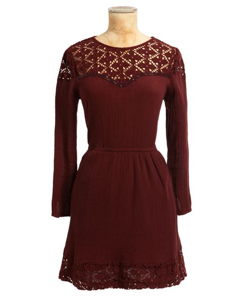Brown, Dress, Sleeve, Shoulder, Textile, Red, Pattern, One-piece garment, Formal wear, Maroon,