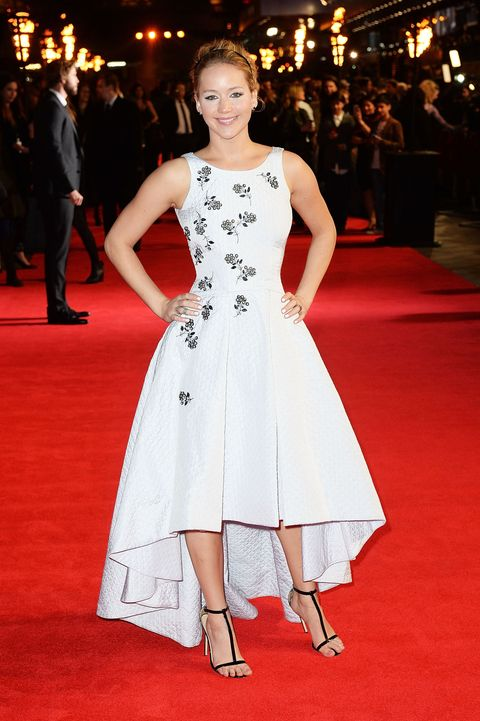 Jennifer Lawrence dazzles in white at the Hunger Games: Mockingjay Part 1 premiere