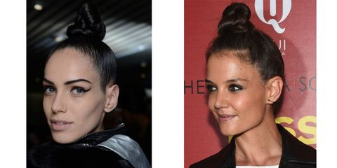 Katie Holmes nails the catwalk topknot