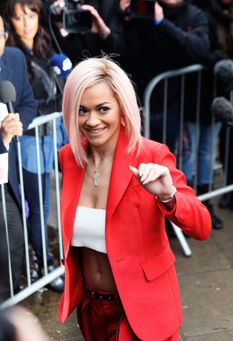 Rita Ora arriving to record Band Aid