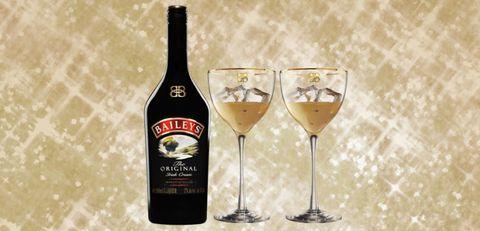 Baileys bottle and 2 glasses