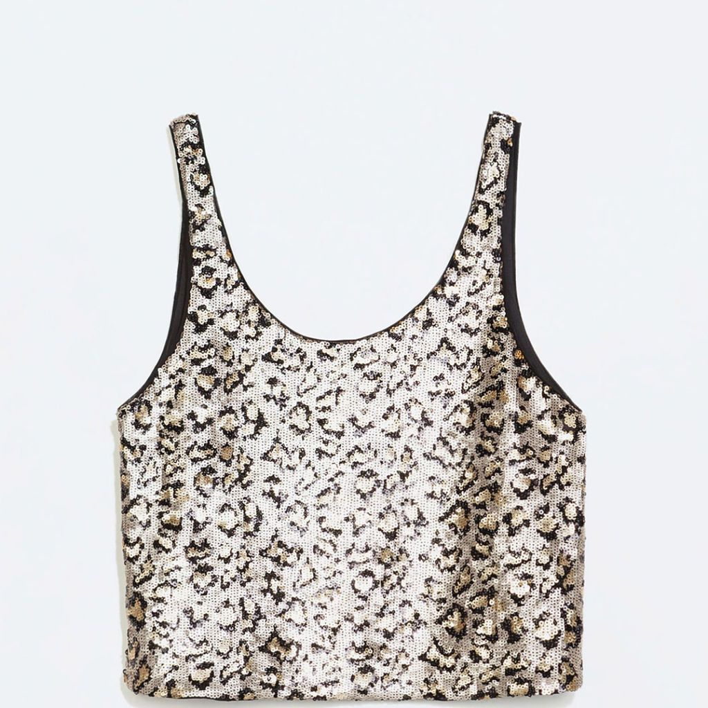 """<p>Team this sequinned top with some high-waisted jeans for a more casual take on golden glamour. </p><i><a href=""""http://www.baileys.com/en-gb/home.html"""" target=""""_blank"""">Find out more about Baileys Chocolat Luxe Limited Edition bottle</a></i></p>"""