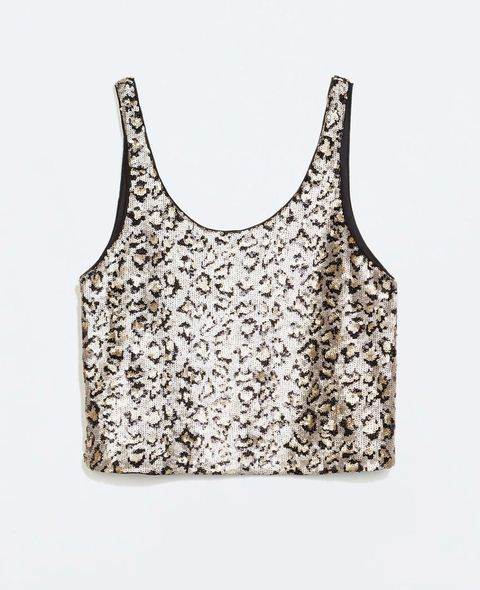 "<p>Team this sequinned top with some high-waisted jeans for a more casual take on golden glamour. </p><i><a href=""http://www.baileys.com/en-gb/home.html"" target=""_blank"">Find out more about Baileys Chocolat Luxe Limited Edition bottle</a></i></p>"