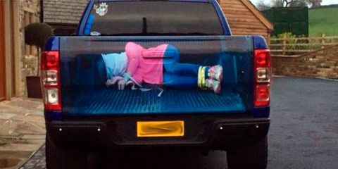 Rape truck with bound and gagged woman sticker