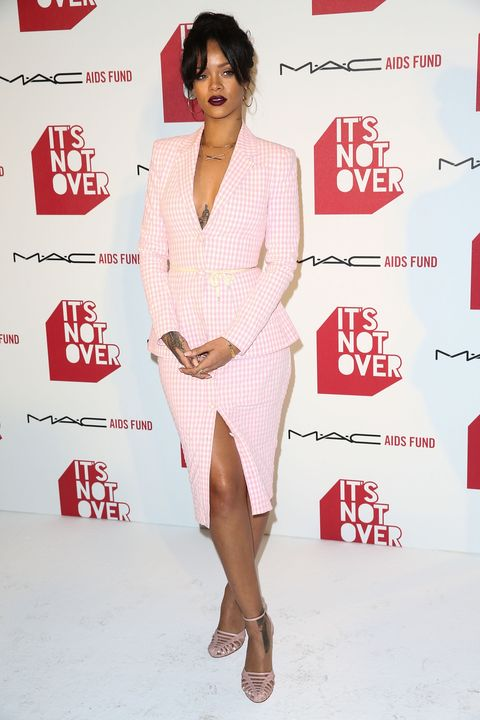 Rihanna wearing check two-piece suit at MAC Cosmetics event