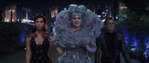 Katniss, Effie and Peeta in the Hunger Games: Catching Fire