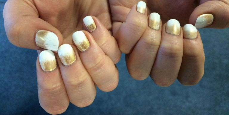 Nail art how-to: gold and white ombre nails