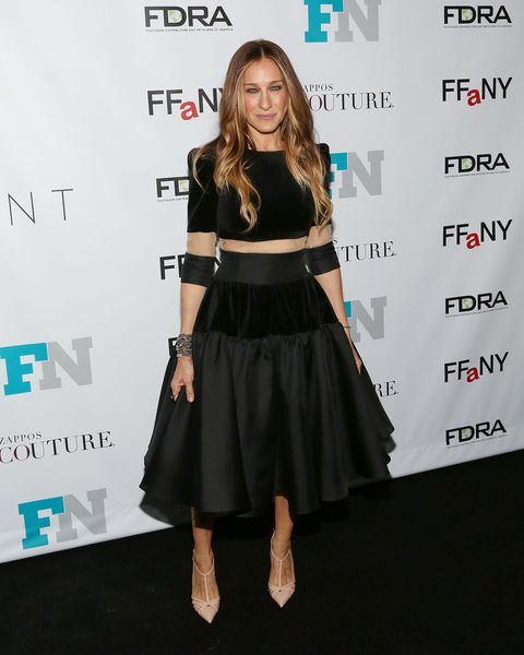 Sarah Jessica Parker Wearing A Sheer Black Dress