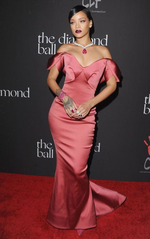 Rihanna At The 2017 Diamond Ball Wearing A Pink Satin Gown