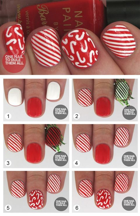 Christmas nails 14 easy festive nail art designs for 2017 use thin tape stripes for an easy route to festive candy cane nails prinsesfo Images