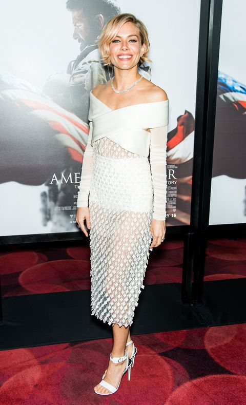 Sienna Miller in white at the Amerian Sniper premiere