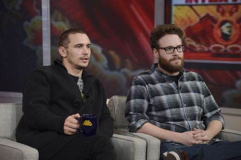 James Franco and Seth Rogen looking serious