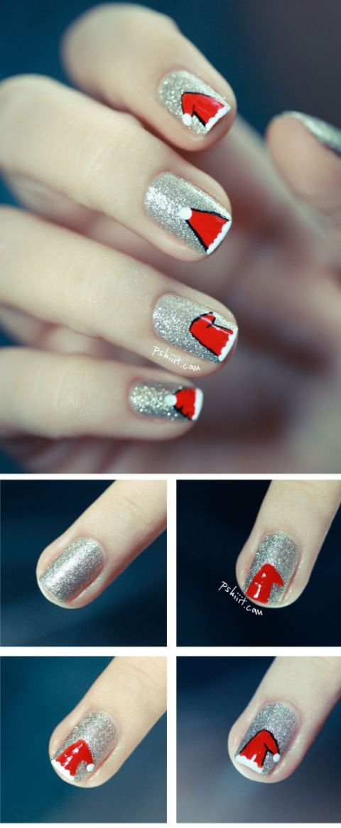 Christmas nails 14 easy festive nail art designs for 2017 5 these jazzy little santa hats will inject some fun into your mani prinsesfo Choice Image