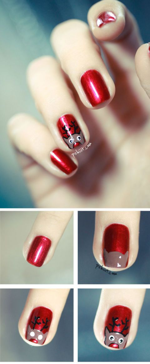 Who Knew Reindeer Nail Art Was So Simple