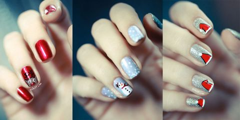 21 chrome nails from mirror nail polish to acrylic nail art ideas 14 christmas nail art prinsesfo Choice Image