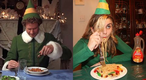 Woman becomes Buddy the Elf for a day. Nails it.