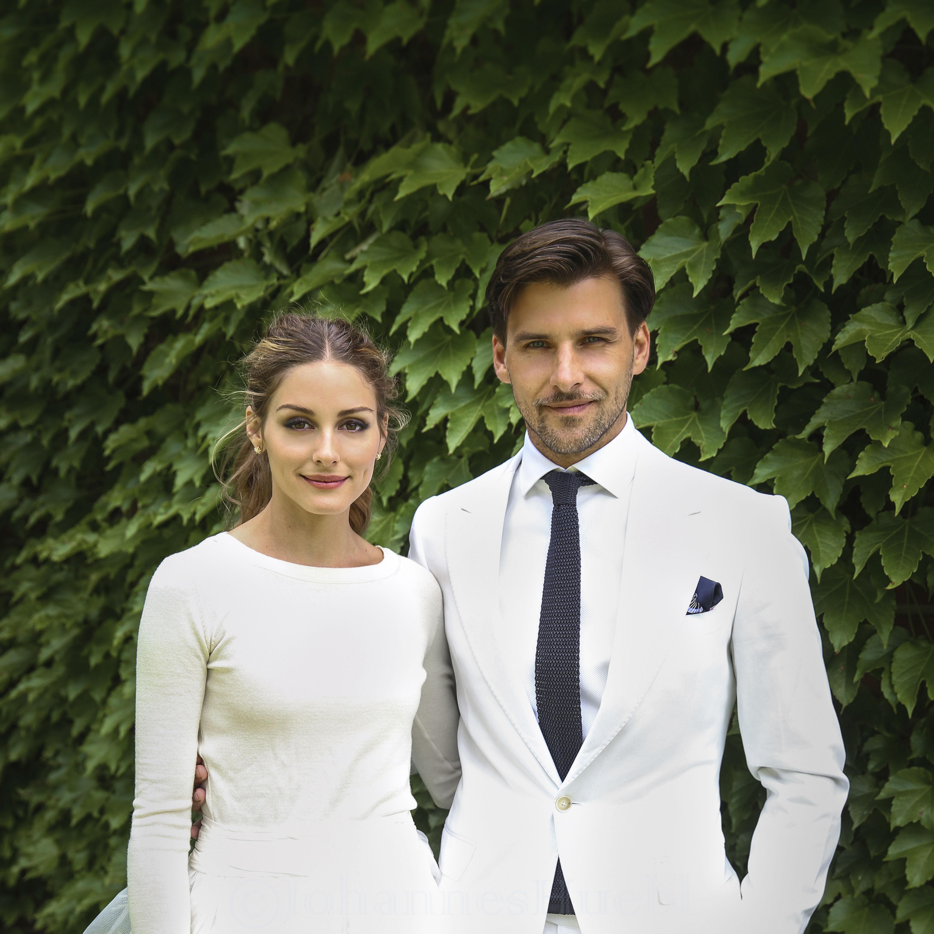 Totally reinventing our idea of bridal beauty, Olivia Palermo nailed it on her wedding day to Johannes Huebl wearing a fine cream knit and white skirt.