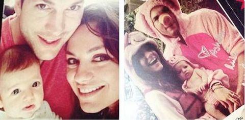 Ashton Kutcher, Mila Kunis and baby girl Wyatt