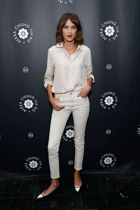f64e4d5322 Alexa Chung wearing all-white to the New York launch of her AG ...