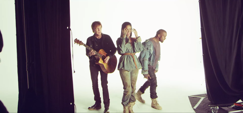 Rihanna, Paul McCartney and Kanye West behind the scenes of FourFiveSeconds