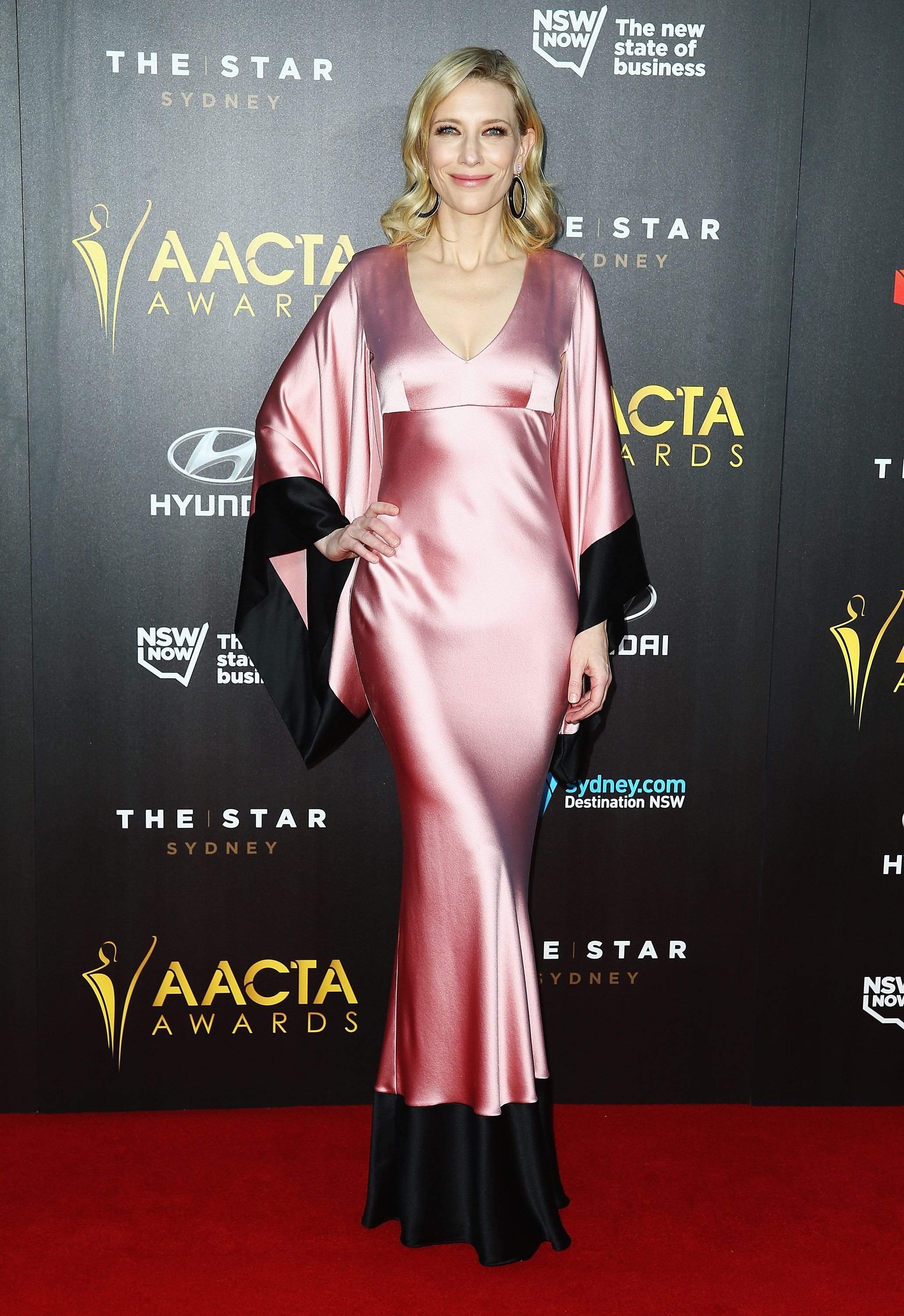 Cate Blanchett wearing a pink kimono at the 2015 AACTA Awards