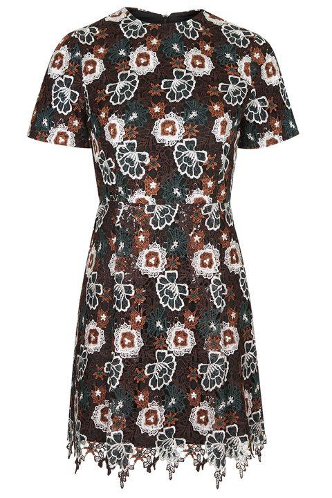 Sleeve, Pattern, Textile, One-piece garment, Dress, Day dress, Aqua, Visual arts, Design, Pattern,