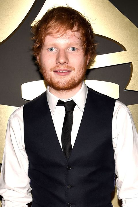 Ed Sheeran looking like a waiter at the Grammys 2015