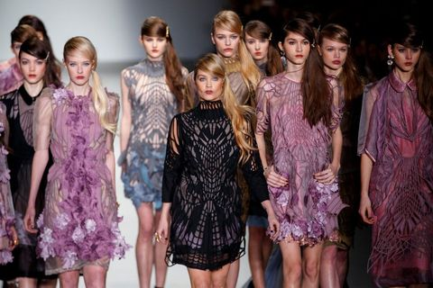 Laura Whitmore walks for Bora Aksu at London's Fashion Week