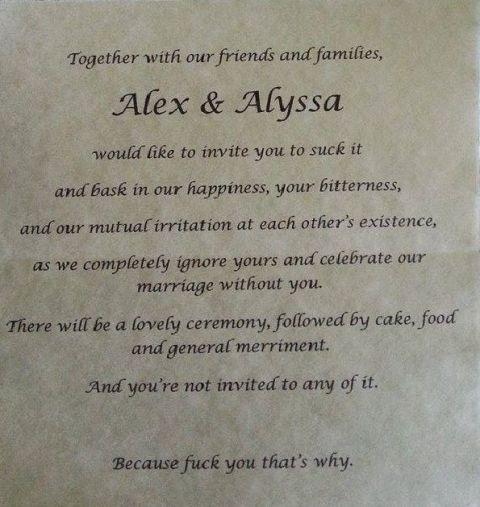 Alex and Alysha invite you to suck it wedding invitation goes viral