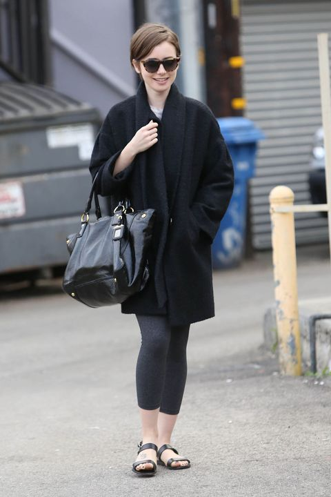 we are loving lily collins s take on casual dressing