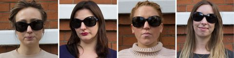 Black oversized sunglasses on four different face shapes
