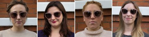 Pink retro sunglasses on four different face shapes