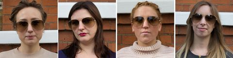 Aviator sunglasses tested on four different face shapes