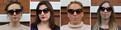 Cat eye sunglasses tested on different face shapes
