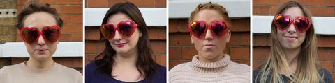 Heart-shaped sunglasses on four different face shapes