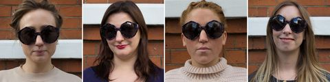 Geometric sunglasses tested on different face shapes