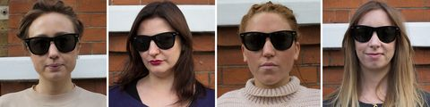 Different sunglasses tested on different face shapes: wayfarer