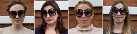 Sunglasses tested on different face shapes: oversized