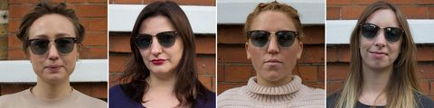Different sunglasses tested on different face shapes: clubmaster ray ban